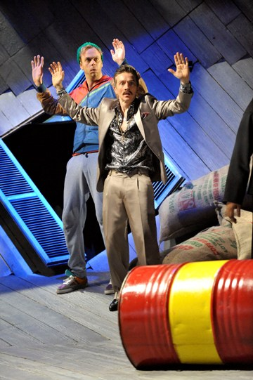 Bruce Mackinnon as Dromio of Syracuse and Jonathan McGuinness as Antipholus of Syracuse in The Comedy of Errors.