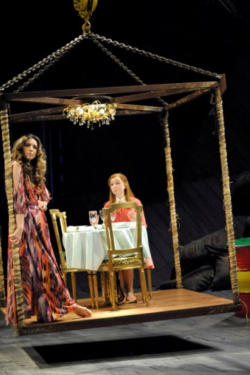 Kirsty Bushell as Adriana and Emily Taaffe as Luciana in The Comedy of Errors.