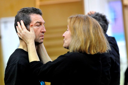 Greg Hicks and Charlotte Cornwell in rehearsal for Hamlet.
