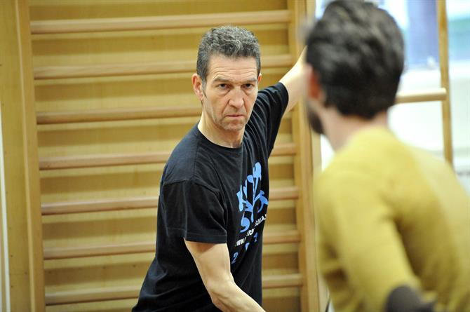 Greg Hicks in rehearsal for Hamlet, practising his fighting stance