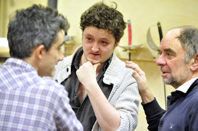 Director David Farr with Michael Grady-Hall and Robin Soans in rehearsal for Hamlet.