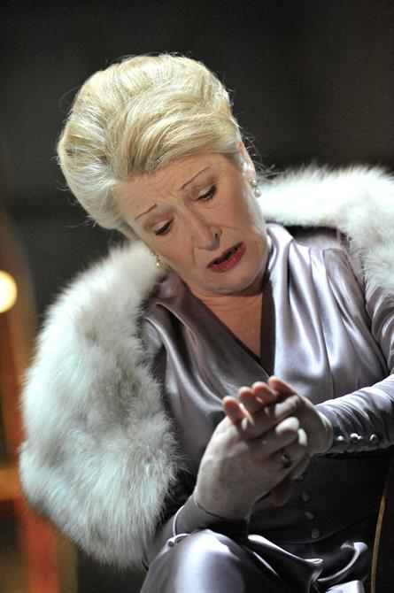 Charlotte Cornwell as Gertrude, in purple silk with a fur collar