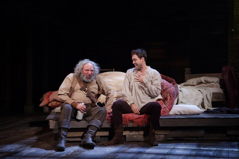 Falstaff (Antony Sher) jokes with Prince Hal (Alex Hassell) in Henry IV Part I 2014