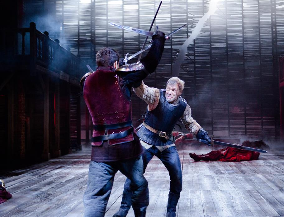 Hotspur (Trevor White) in a duel to death with Hal (Alex Hassell) in Henry IV Part 1, 2014