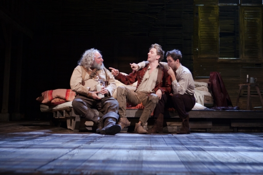 Antony Sher as Sir John Falstaff, Sam Marks as Ned Poins, Alex Hassell as Prince Hal in Henry IV Part I 2014