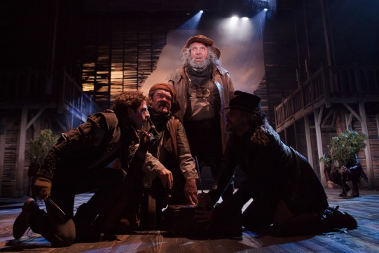 Martin Bassindale as Peto, Joshua Richards as Bardolph, Antony Sher as Sir John Falstaff, Jonny Glynn as Rakehell in Henry IV Part I 2014