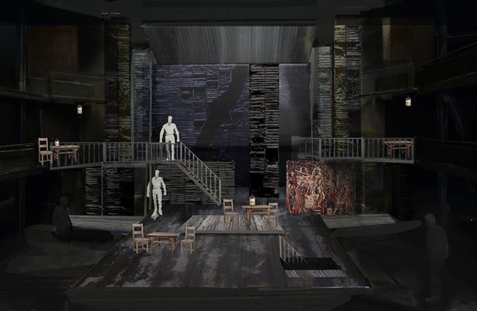 Tavern model box by designer Stephen Brimson Lewis for Henry IV Part I 2014