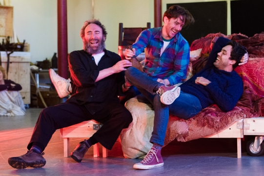 Antony Sher as Sir John Falstaff, Sam Marks as Poins and Alex Hassell as Prince Hal in rehearsal for Henry IV Part I 2014