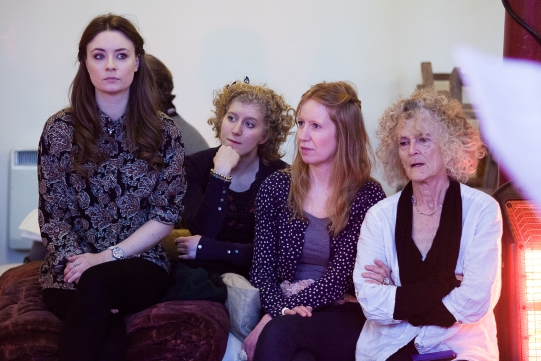 Jennifer Kirby as Lady Percy, Leigh Quinn as Traveller, Nia Gwynne as Lady Mortimer and Paola Dionisotti as Mistress Quickly in rehearsal for Henry IV Part I 2014