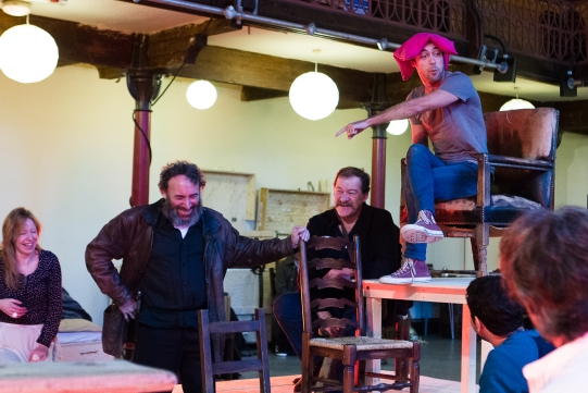 Nia Gwynne as Lady Mortimer, Antony Sher as Sir John Falstaff, Joshua Richards as Bardolph/Glendower and Alex Hassell as Prince Hal in rehearsal for Henry IV Part I 2014