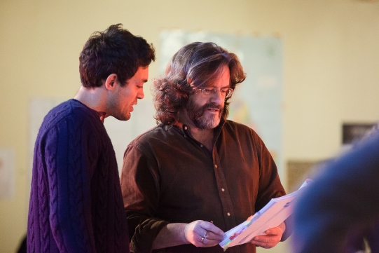 Alex Hassell as Prince Hal and director Gregory Doran in rehearsal for Henry IV Part I 2014