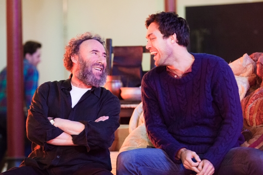 Antony Sher as Sir John Falstaff and Alex Hassell as Prince Hal in rehearsal for Henry IV Part I 2014