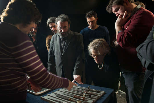 The Henry IV company at the Museum of London 2014 looking at daggers