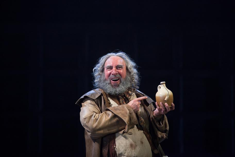Falstaff (Antony Sher) praises the qualities of sack in Henry IV Part II 2014