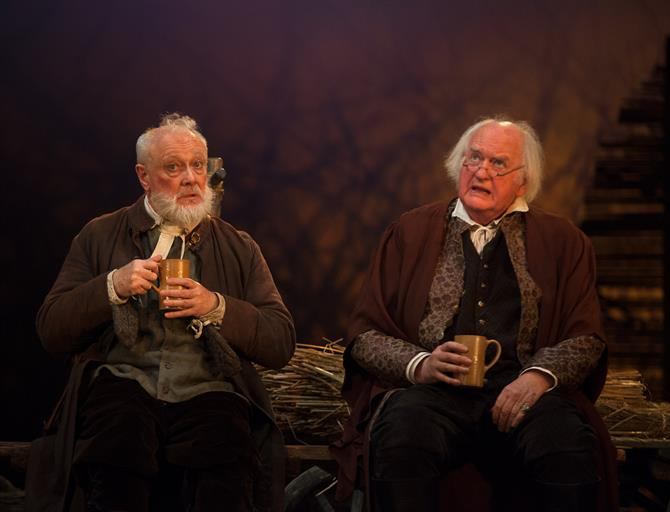 Justice Silence (Jim Hooper) and Justice Shallow (Oliver Ford Davies) in Henry IV Part II 2014