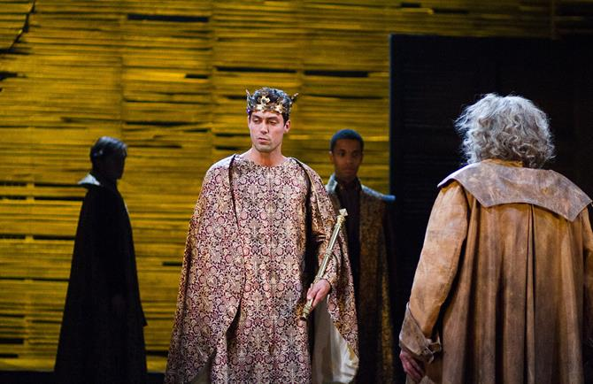 Henry V (Alex Hassell) rejects Falstaff (Antony Sher) in Henry IV Part II 2014