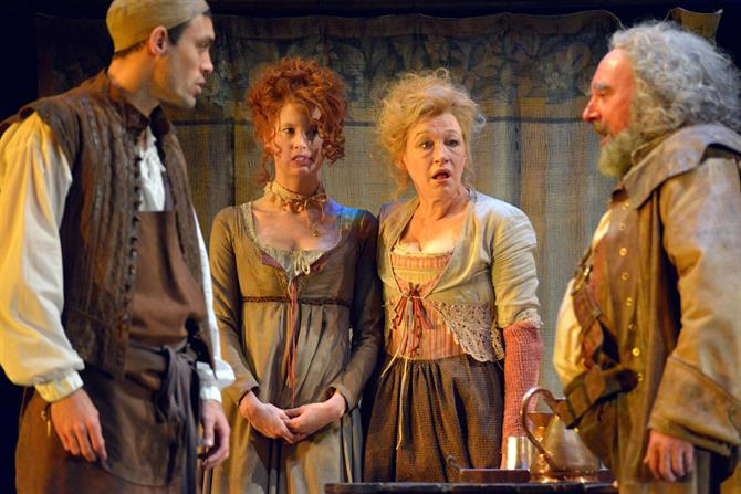 Alex Hassell as Prince Hal, Emma King as Doll Tearsheet, Sarah Parks as Mistress Quickly and Antony Sher as Falstaff in Henry IV Part II. Photo by Keith Pattison.
