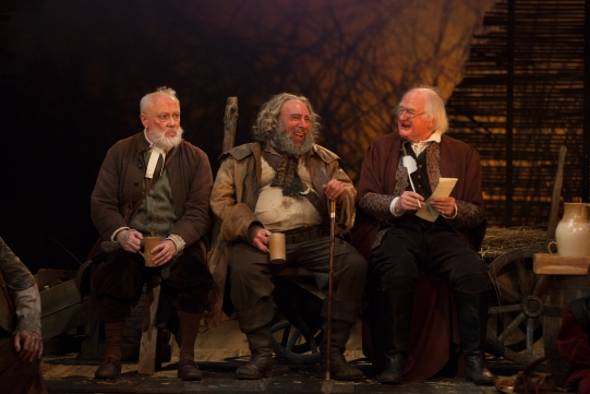 Jim Hooper as Justice Silence, Antony Sher as Sir John Falstaff and Oliver Ford Davies as Justice Shallow in Henry IV Part II.