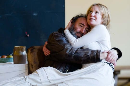 Antony Sher as Sir John Falstaff hugs Nia Gwynne as Doll Tearsheet in rehearsal for Henry IV Part II 2014