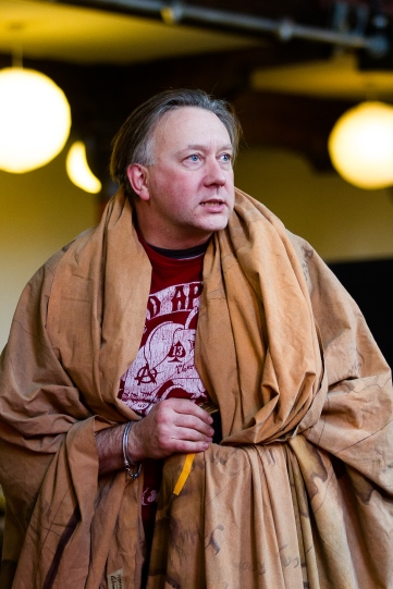 Jasper Britton wrapped in a blanket as King Henry IV in rehearsal for Henry IV Part II 2014