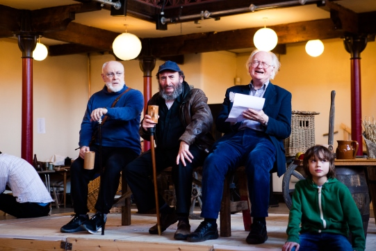 Jim Hooper as Silence, Antony Sher as Falstaff and Oliver Ford Davies as Shallow in rehearsal for Henry IV Part II 2014