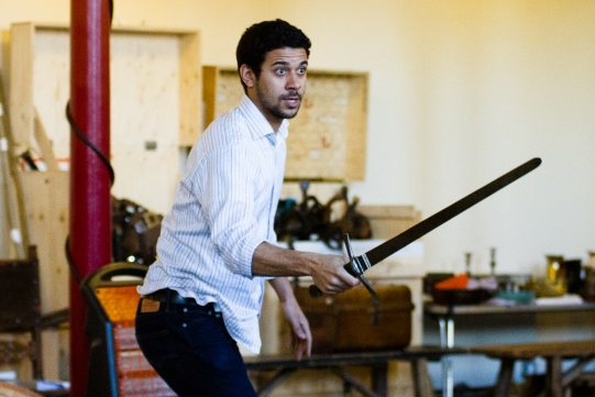 Robert Gilbert rehearses as Coleville with his sword for Henry IV Part II 2014