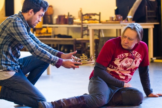 Alex Hassell as Prince Hal and Jasper Britton as King Henry IV in rehearsal for Henry IV Part II 2014