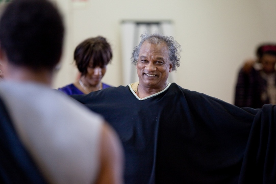 Jeffery Kissoon in rehearsal for Julius Caesar.
