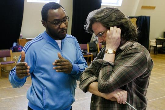 Associate Director Gbolahan Obisesan and Director Gregory Doran in rehearsal for Julius Caesar.