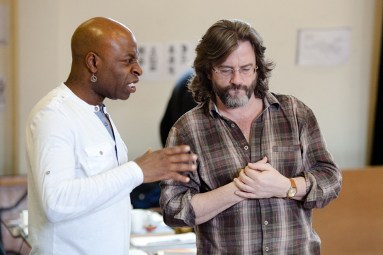 Composer Akintayo Akinbode and director Gregory Doran in rehearsal for Julius Caesar.