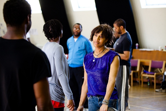 Samantha Lawson in rehearsal for Julius Caesar.