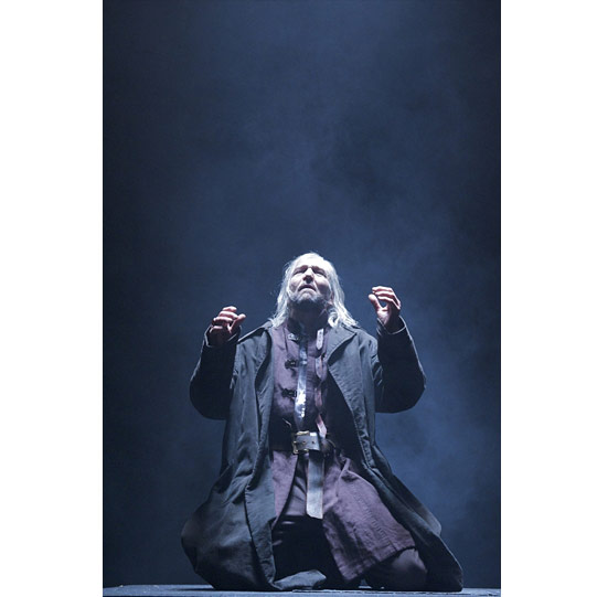 Out on the heath in a storm, Lear (Greg Hicks) appeals to the elements.