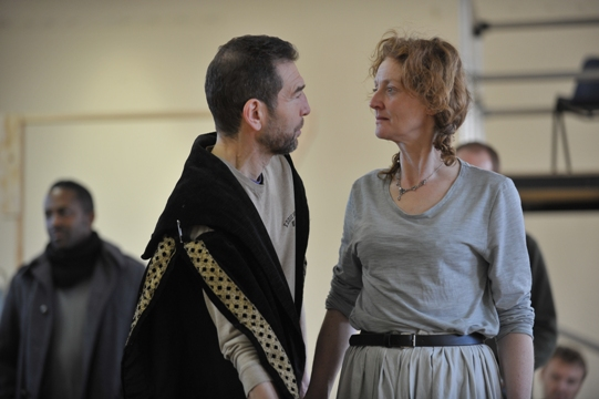 Rehearsing Act 1 Scene 1, where Lear decides how to divide his kingdom between his three daughters.  Greg Hicks (Lear) and Kelly Hunter (Goneril).