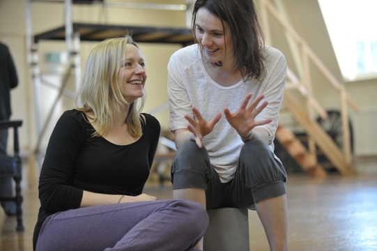 Actors Sophie Russell and Hannah Young taking a break during rehearsals.