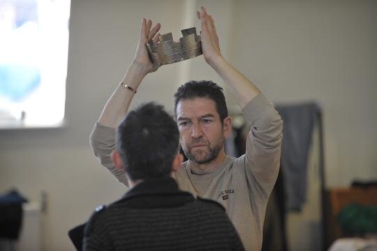 Actor Greg Hicks (facing camera) with director David Farr.