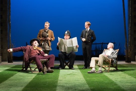 John Hodgkinson as Don Armado, Nick Haverson as Costard, Chris McCalphy as Dull, Peter McGovern as Moth and Thomas Wheatley as Sir Nathaniel in Love's Labour's Lost 2014