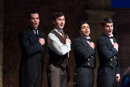 Peter Basham as Butler, Harry Waller as Footman, Chris Nayak as Footman and Oliver Lynes as Footman in Love's Labour's Lost 2014