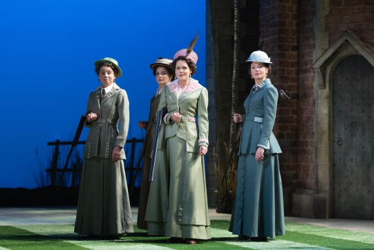 Michelle Terry as Rosaline, Flora Spencer-Longhurst as Katherine, Leah Whitaker as Princess of France and Frances McNamee as Maria in Love's Labour's Lost 2014