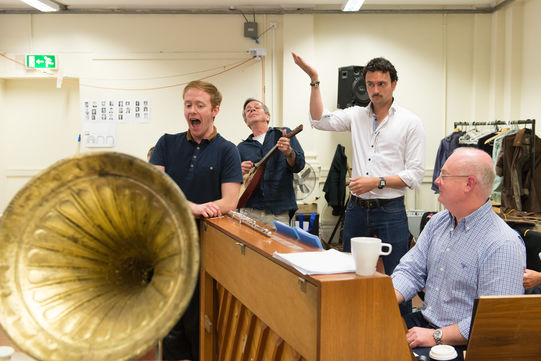 Composer Nigel Hess and the company rehearsing the music from Love's Labour's Lost 2014