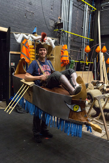 Testing Pompey's ship backstage for the Pageant of the Nine Worthies in Love's Labour's Lost 2014
