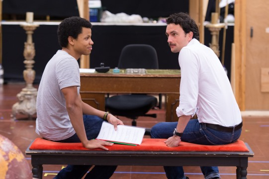Tunji Kasim and William Belchambers in rehearsal for Love's Labour's Lost 2014