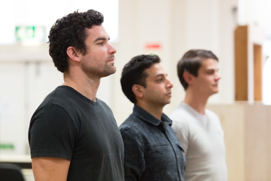 Peter Basham, Chris Nayak and Oliver Lynes in rehearsal for Love's Labour's Lost 2014
