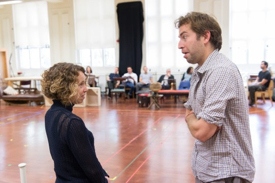 Michelle Terry and Edward Bennett in rehearsal for Love's Labour's Lost 2014