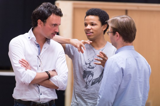 William Belchambers, Tunji Kasim and Sam Alexander in rehearsal for Love's Labour's Lost 2014