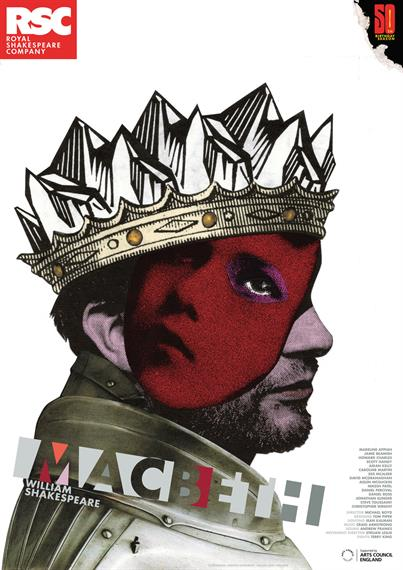 Theatrical poster for Macbeth 2011 showing a crowned man, part of his face obscured by a red superimposed woman
