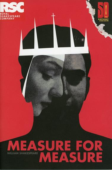 Programme cover for Measure for Measure 2011 showing a composite profile head of man and woman with crown against a red background