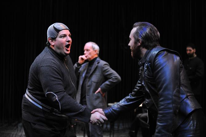 Production image of Ian Midlane as Elbow and Joseph Kloska as Pompey in Measure for Measure.