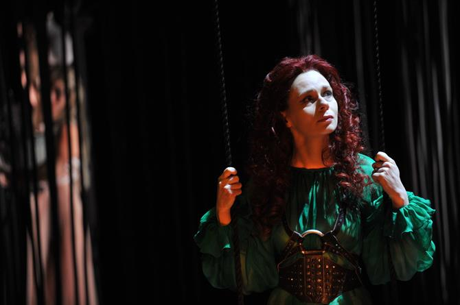 Production image of Catherine Hamilton as Mariana in Measure for Measure.