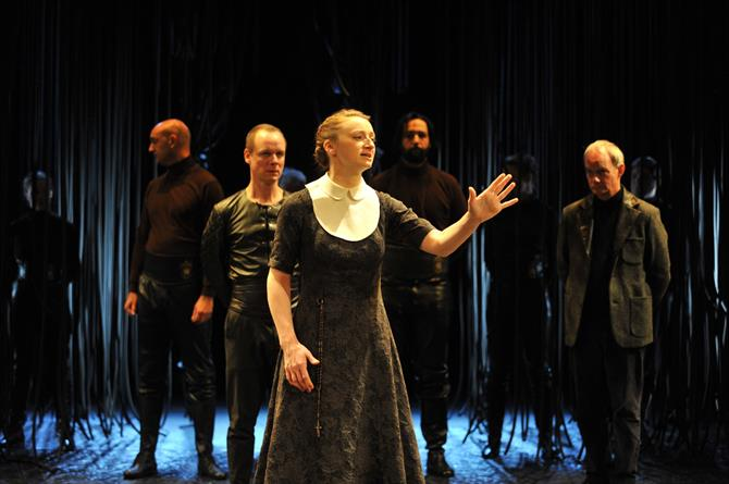 Production image of Jodie McNee as Isabella in Measure for Measure.