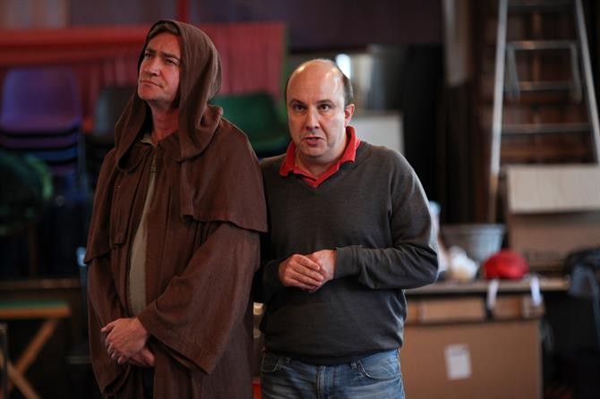 Raymond Coulthard (left) and Paul Chahidi (right) in rehearsal for Measure for Measure.